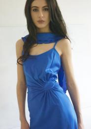 Wendy - Blue - Dress - Size 10 - 12- Vintage - Party Dress - Evening - Prom - Women - wave Detail - Sunburst gather at hip - GLAM shop - Vintage - DRESS collection - 010GSV Image