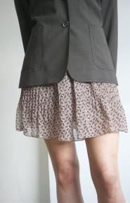 005GSV-FUN-Miso label -Skirt - Black horses on light brown  -so cute Image