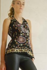 Uttam London - Black - Halter neck - size 10 - 12 -Beaded top - Bird of Paradise pattern -Vamp - GLAM shop - Vintage 002GSV       Image