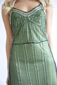 Marina -  Dress  - Size - 6 - Lime  - Green - Beaded - Dress-Black-lace and bead over lay  GLAM shop Vintage - Dress Collection  016GSV Image