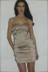 DRESS - size 8 - Beige - Knee length - Bow - Party - Prom - Evening - Ball - Cruise - GLAM shop Vintage -  Dress collection 009GSV Image