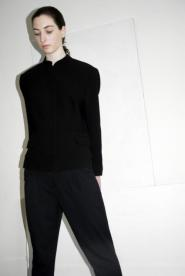 010GSV -Black&White- Black textured  - Round neck -Jacket-Windsmoor  Image