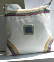 Vintage  - BAG - Size  - Medium  - Handbag- Cream - Rainbow Multi Coloured Corners - GLAM shop Vintage Bag Collection    003GSV            Image