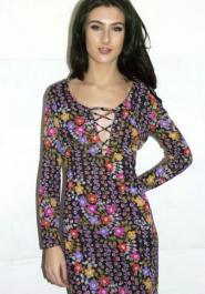Nylon Label - Dress - Size -  10 - 12 - Vintage - Long Dress - Black - Multi Coloured on Black - GLAM shop Vintage  - Dress Collection - 011GSV Image