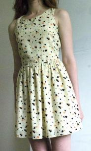 Parisian - Size 12 Dress - Cream - Orange and Black  - hearts - GLAM shop - Vintage - Dress Collection  007GSV Image