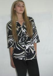 Marks and Spencer - Per Una - Shirt - Size 14 - Regular - Black - White - Beige - Wild Design - Long sleeve - GLAM shop Vintage - Work Collection - 009GSV Image