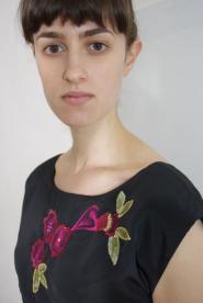 020GSV-Dress -Be Beau Dress-Black- vibrant pink and green sequinned floral design Image