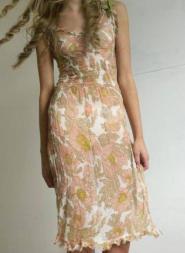 Pink Soda - Dress - Size 10 -  Orange Floral Design  -Silk  GLAM shop - Vintage  002GSV Image