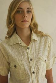 Short - Sleeve  Ladies  - Shirt  - Size 10 - 12 - Yellow - RI 1988  - Work - Ladies - Yellow - Shirt - GLAM shop - Vintage 003GSV Image