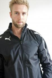 001GSV-Men-SPORT-Black Jacket-White panel detail to the front Image