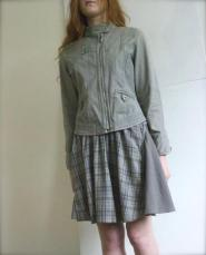 Dorothy Perkins - Skirt - size - 12 - Grey - Flared - Knee Length - Flared - GLAM shop - Vintage - Military collection - 013GSV Image