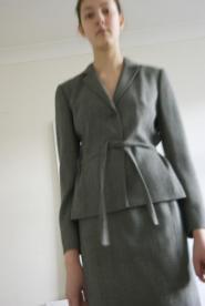 003GSV-Petite collection-Loft wool-petite-skirt suit -Grey Image