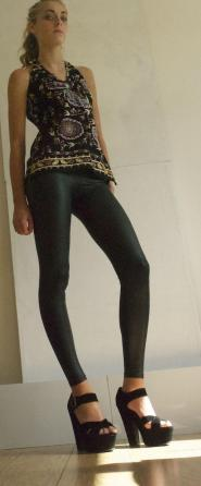 Black leggins size 10 - 12  - slightly  - Wet look  - VAMP  GLAM shop - Vintage 001-GSV                    Image